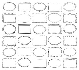 Hand drawn doodle round and square vector picture border frames