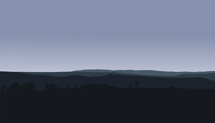 Panorama landscape with hills, woods and gray winter or autumn sky - vector