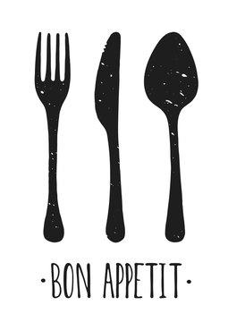Vector Bon appetit. Hand drawn. Poster. Lettering. Illustration. Fork, knife and spoon.