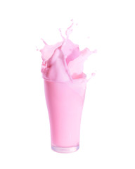 Splash of strawberry milk from the glass on isolated white background.