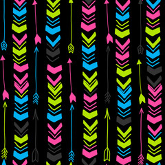 Colorful arrows. Vector seamless pattern