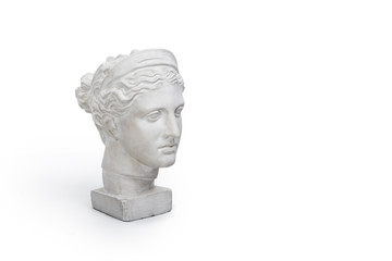 Marble head of young woman, ancient Greek goddess bust isolated on white background with copy space for text.