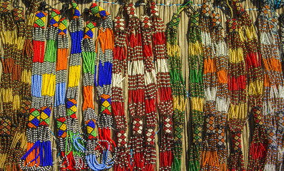 African traditional beads necklaces. South Africa.  Local market.