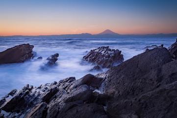 Mt.Fuji and sea in winter season seen from Jogashima Island, Kanagawa prefecture
