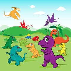 illustration of cute dinosaurs cartoon EPS10 File on white backg