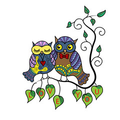 Two cute owls on a tree branch. Hand-drawn owl in doodle art style.Template for coloring books. Card for Valentine's Day.