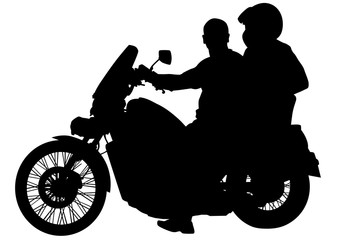 Wall Mural - Motorcycl and baeuty women and man on white background