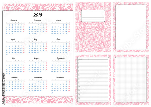 Calendar Cover Page Design : Quot set of pages template for daily planner printable