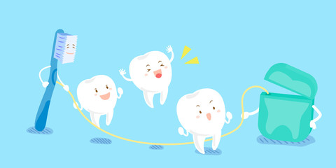 tooth playing with dental floss