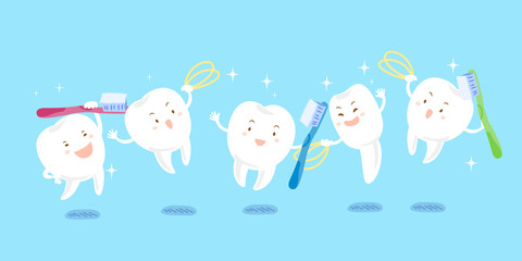 cute cartoon tooth playing