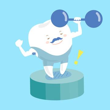 cartoon teeth in fitness