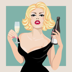 Pin-up sexy woman with bottle of champagne, pop art portrait hand drawn vector illustration