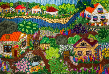 Village - embroidery background