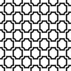 Black and white ornament seamless vector pattern. Monochrome geometric abstract repeat background.