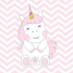 Baby shower  illustration with cute unicorn girl on chevron background suitable for baby shower greeting card, postcard, and nursery wall