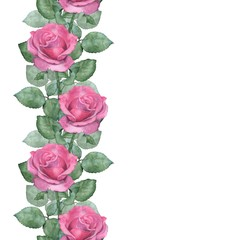 Watercolor seamless border of pink roses. Handmade drawing. Isolated on white