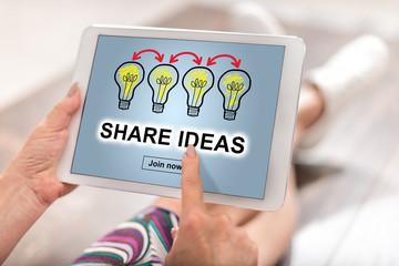 Share ideas concept on a tablet