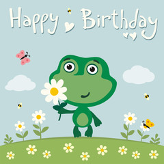 Happy birthday! Cute frog with flower on meadow. Birthday card with funny frog in cartoon style.