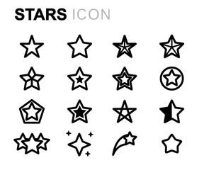 Vector line stars icons set