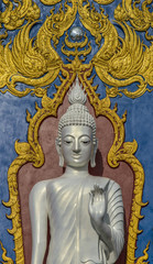 Standing White Buddha at Rong Sua Ten temple, Chiangrai Province, Thailand