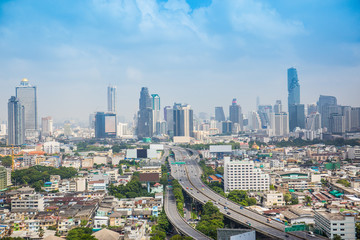 Sky view Landscape of bangkok city building, expressway, highway with cloud and blue sky, Thailand