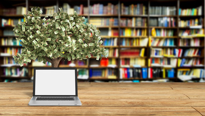 Black empty screen pc with money tree librury background 3d rend