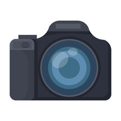 Digital camera icon in cartoon style isolated on white background. Rest and travel symbol stock vector illustration.