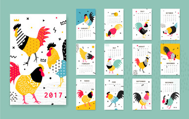 Template calendar 2017 with a rooster in Memphis style.