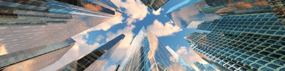 Panorama of beautiful skyscrapers against the sky with clouds. 3d rendering. Fotomurales