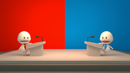 3d rendering picture of presidential debate