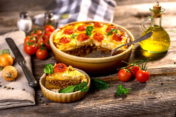Moussaka - a traditional Balkan specialty with minced meat and p