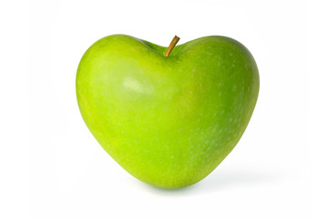 Green apple in the shape of a heart  isolated on white background