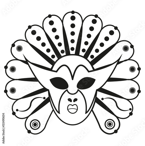 Vector Illustration Of A Carnival Mask For Coloring Maschera Di