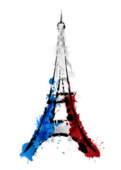 Eiffel tower in Paris made of colorful splashes