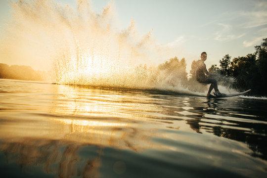Man wakeboarding on a lake