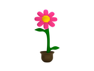 3d Flower Isolated on white background with a pot, rendering