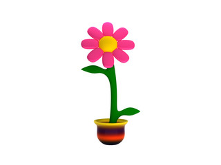3d Flower Isolated on white background with a colorful pot, rendering