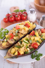 baked aubergine with vegetable