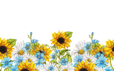 Seamless border of watercolor sunflower bouquets