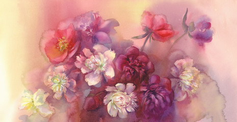 bouquet of violet and white peonies watercolor