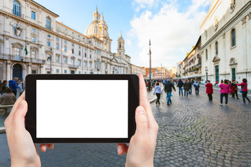 tourist photographs piazza navona in Rome