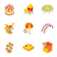 Children games icons set, cartoon style