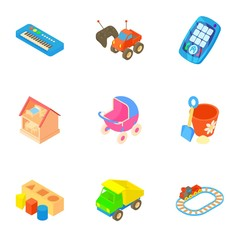 Fun games for kids icons set, cartoon style
