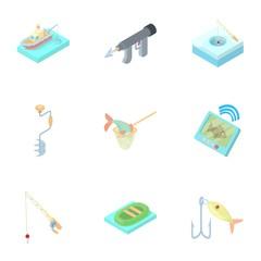 Fish catch icons set, cartoon style