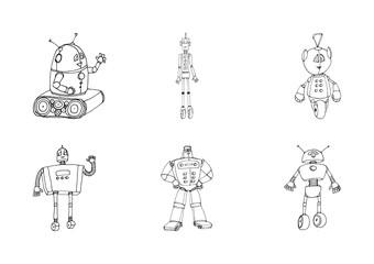 Robot doodles set.