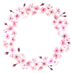 Spring wreath with cherry blossoms. Place for text