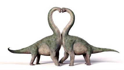 Brachiosaurus couple in love, forming a heart shape