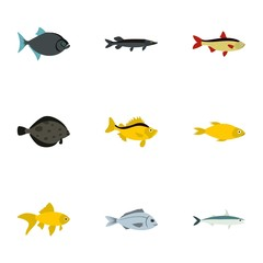 Tropical fish icons set, flat style