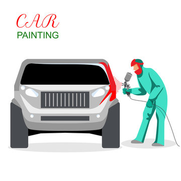 Car painting. A man spray painting auto body. Vector illustration isolated on white background.