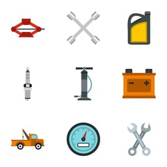 Car repairs icons set, flat style